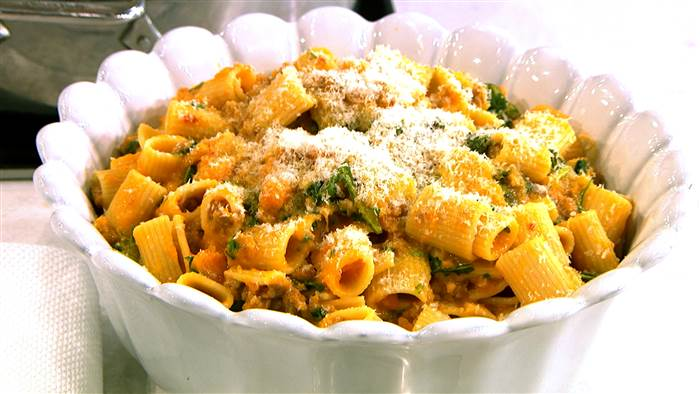 Mezzi rigatoni with butternut squash and spicy sausage
