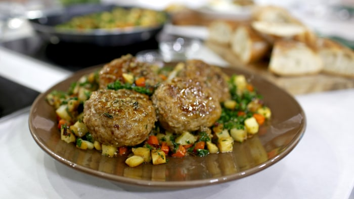 Brian Malarkey's pork meatballs and potato hash