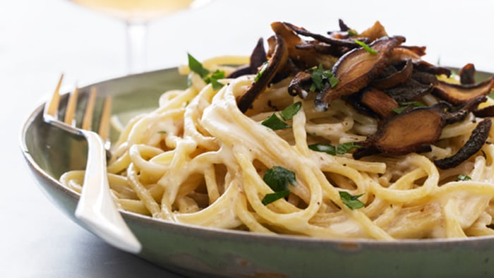 Pasta Carbonara with Shiitake Bacon