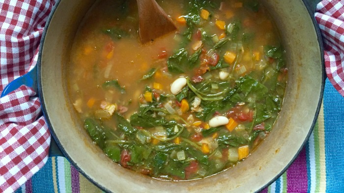 Kale, bacon and white bean soup
