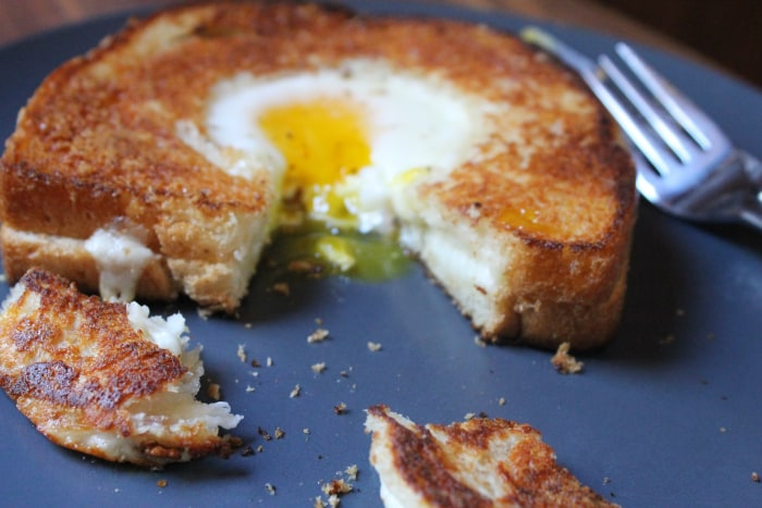 Grilled Cheese Egg-in-a-Hole: Serve with the cut-out on the side