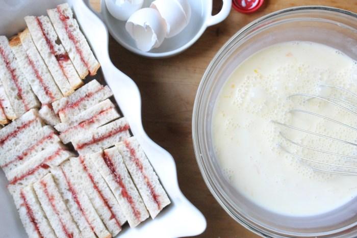 Stuffed French Toast Casserole: Make the custard
