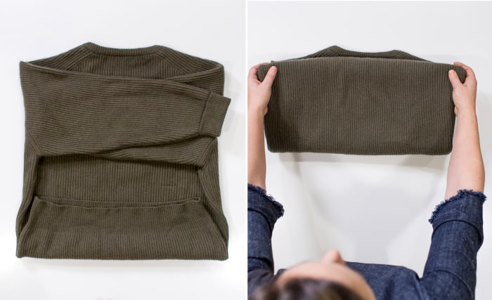 how to fold chunky sweaters so they stay perfectly stacked. Black Bedroom Furniture Sets. Home Design Ideas