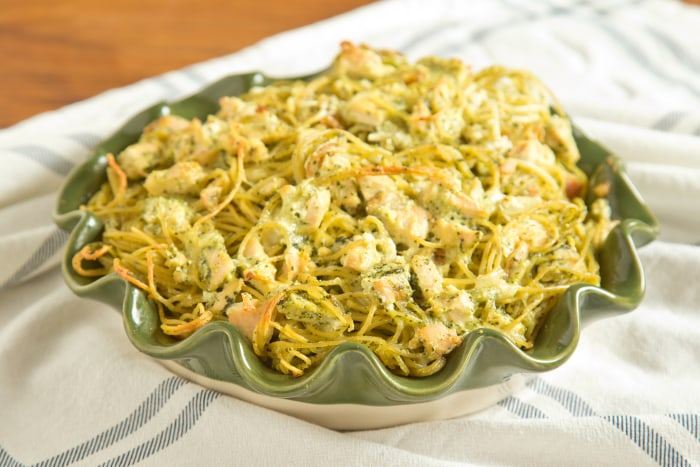 Chicken Pesto Spaghetti Pie: Let the pie cool for 10 minutes before ...