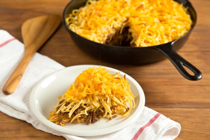 Cheeseburger Spaghetti Pie: Let the pie rest for 10 minutes before slicing and serving