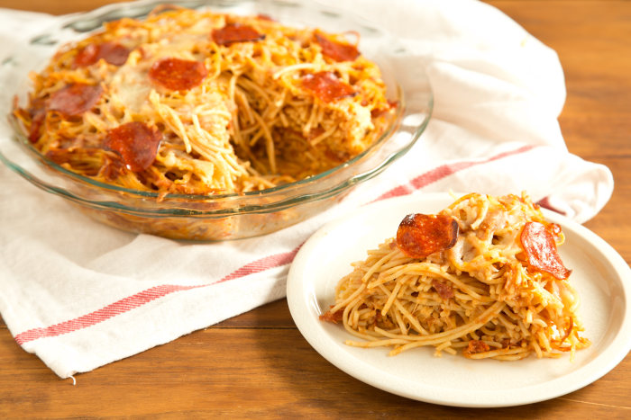 Pizza Spaghetti Pie: Let the pie rest for 10 minutes before slicing and serving