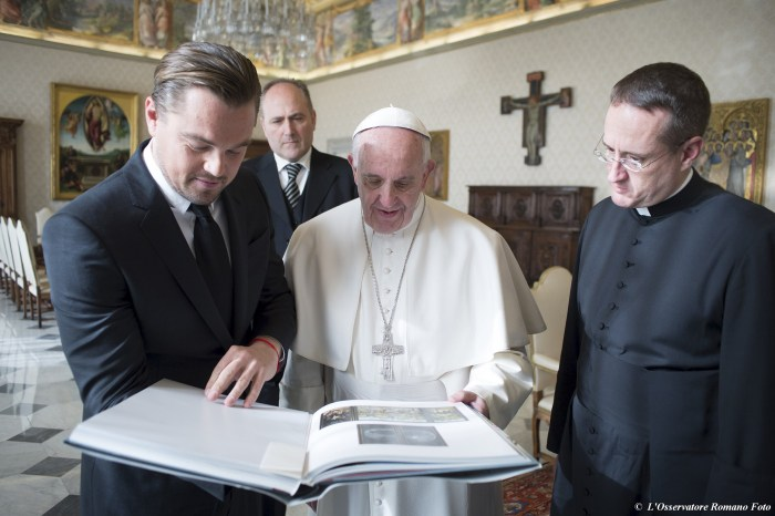 Leonardo dicaprio meets pope francis at the vatican to discuss the osservatore romano reuters m4hsunfo Choice Image