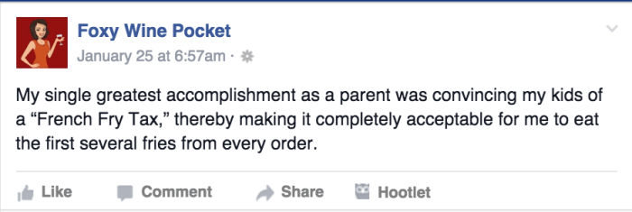These 11 Facebook parenting posts made us laugh this week Foxywinepocket_1c326c76baa627456aebb30258c71d0a.today-inline-large