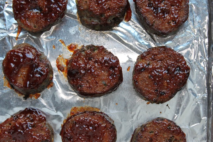 BBQ Mini Meat Loaf Sliders: Flip the mini meat loaves, brush with the remaining barbecue sauce and broil until glossy, 3 to 4 minutes longer.