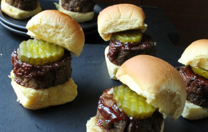 BBQ Mini Meat Loaf Sliders: Place the meat on the rolls and top with pickles