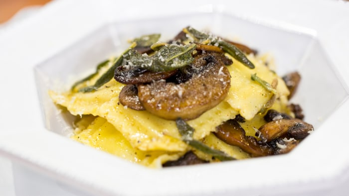 Bren Herrera's homemade brown butter mushroom and sage ravioli