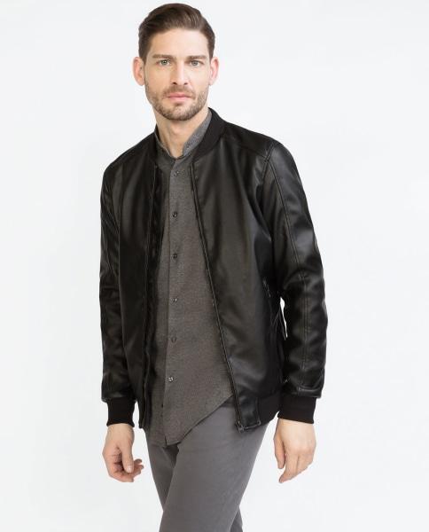 Zara mens faux leather bomber jacket – New Fashion Photo Blog