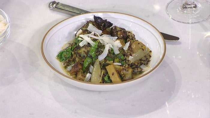 Braised Chicken with Quinoa, Shiitake Mushrooms and Greens