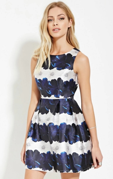 black and white floral dress forever 21