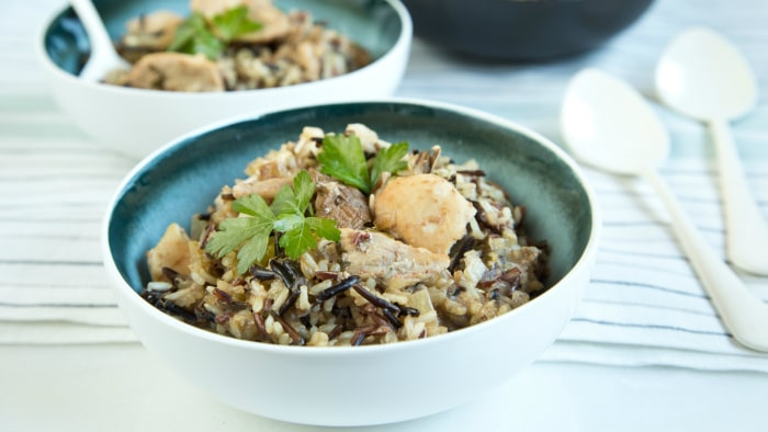 Slow-cooker wild rice and chicken casserole