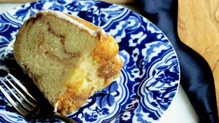 Cinnamon roll pound cake recipe from Grandbaby Cakes by Jocelyn Delk Adams