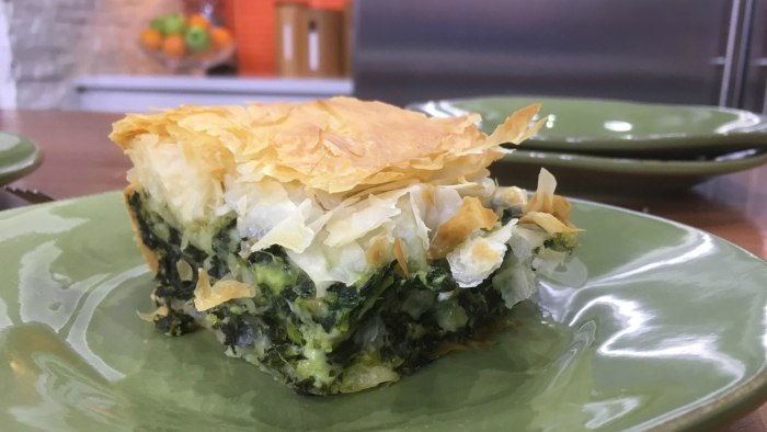 Maria Menounos makes spanakopita, a flaky Greek spinach pie