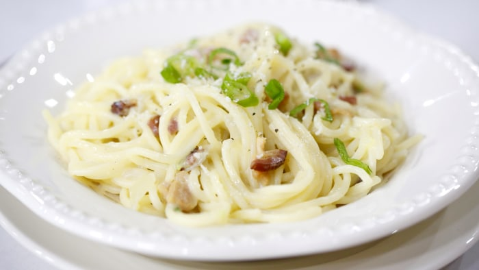 Lidia Bastianich makes spaghetti carbonara for Easter