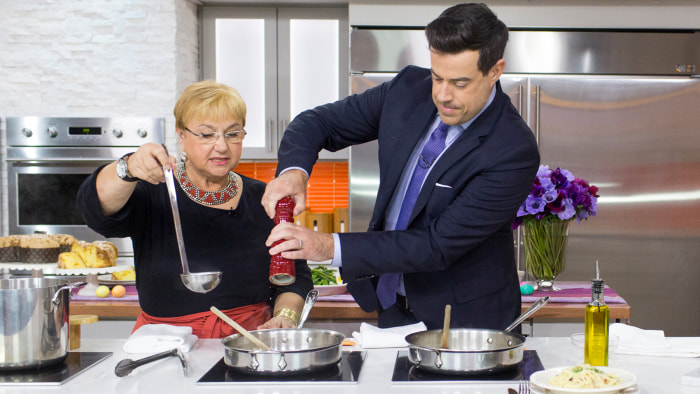 Lidia Bastianich prepares for Easter by cooking up a plate of Spaghetti Carbonara