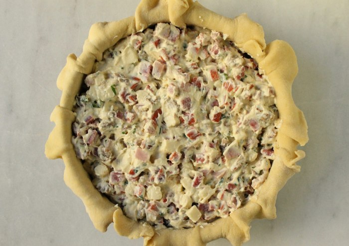 Pizza Rustica: Scrape the filling mixture into the crust and spread to an even layer