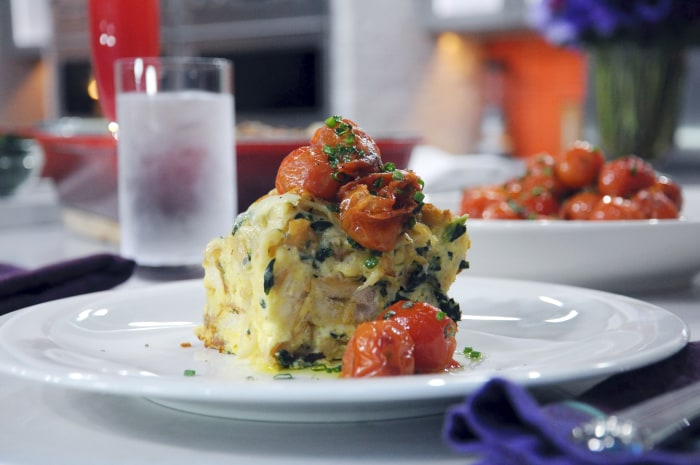 Chef Bobby Flay's brunch recipe: Caramelized onion, gruyere and spinach strata