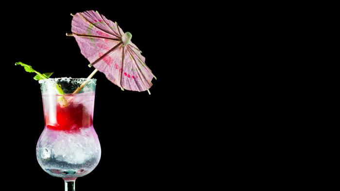 Radish-garnished cocktail