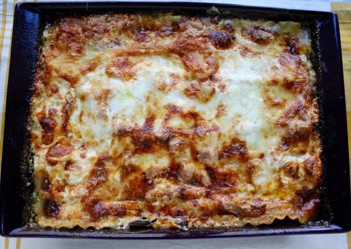 Four Cheese Wild Mushroom Lasagna: Bake until golden and bubbling