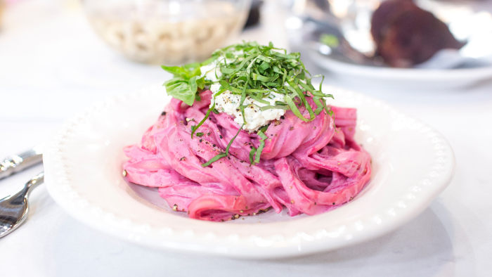 Chef Chloe Coscarelli of by Chloe makes vegan beet fettuccine alfredo