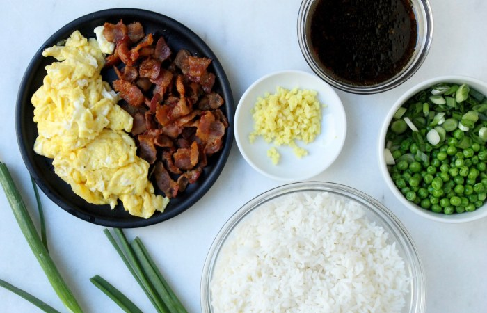 15-Minute Bacon and Egg Fried Rice: Ingredients