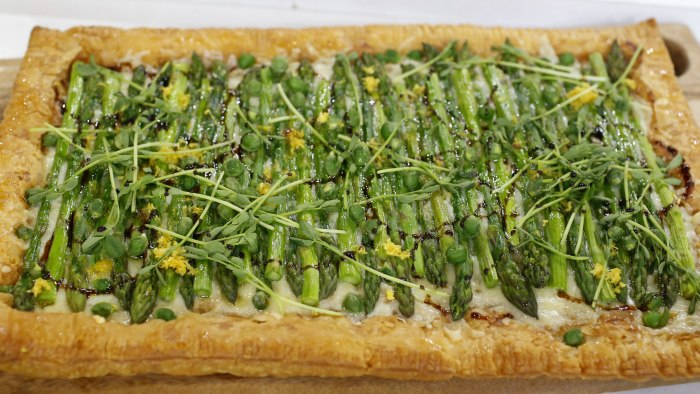 Food Club member Alice Choi makes an asparagus gruyere tart