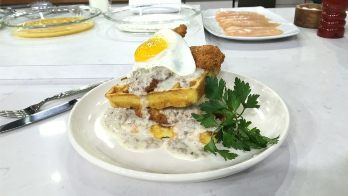 Billy Dec makes fried chicken and waffle sandwiches