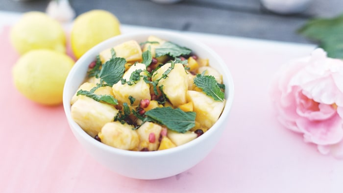 Mango, pineapple and pomegranate salad