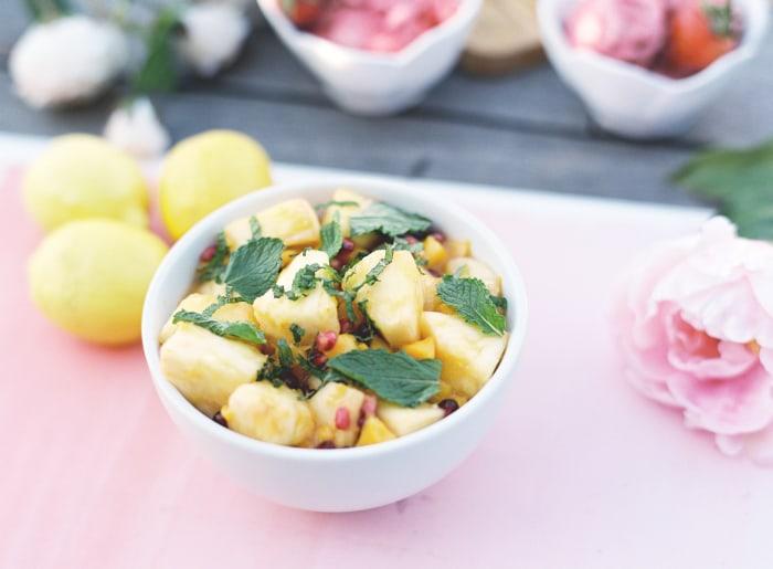 Mango, pineapple and pomegranate salad