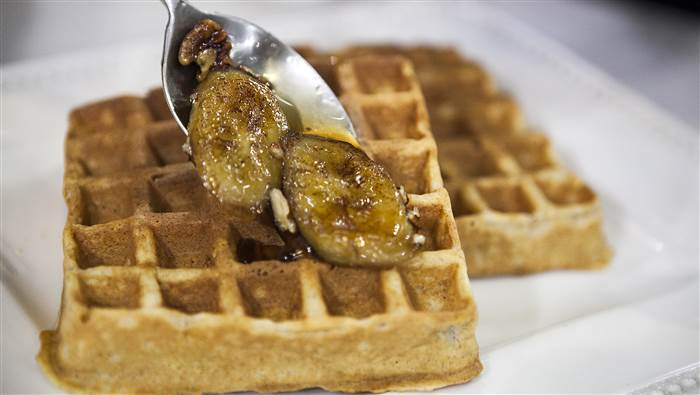 Melissa Clark makes whole grain waffles with a bourbon-brown sugar banana topping