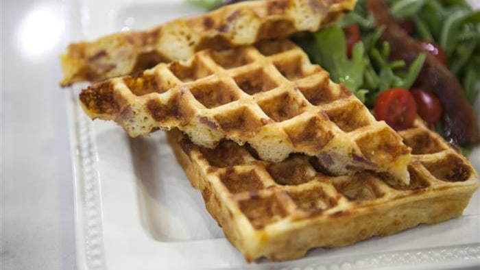 Cornmeal, cheddar and bacon waffles