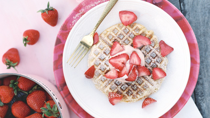 Melissa Clark makes yeasted waffles with strawberry cream