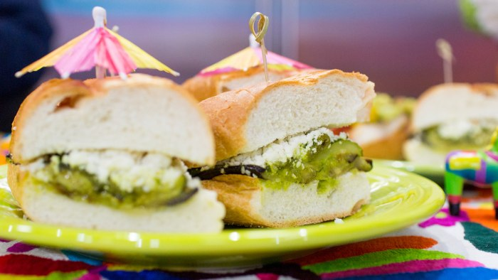 Pati Jinich cooks up an authentic Cinco de Mayo feast, complete with grilled eggplant, zucchini and poblano sandwiches