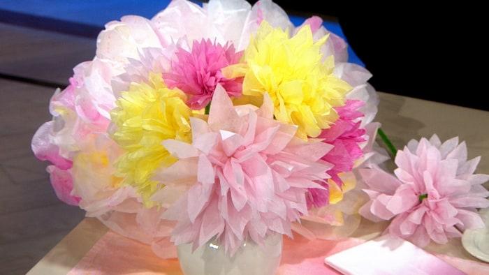 Martha Stewart DIY Mother's Day Splattered pom pom flowers