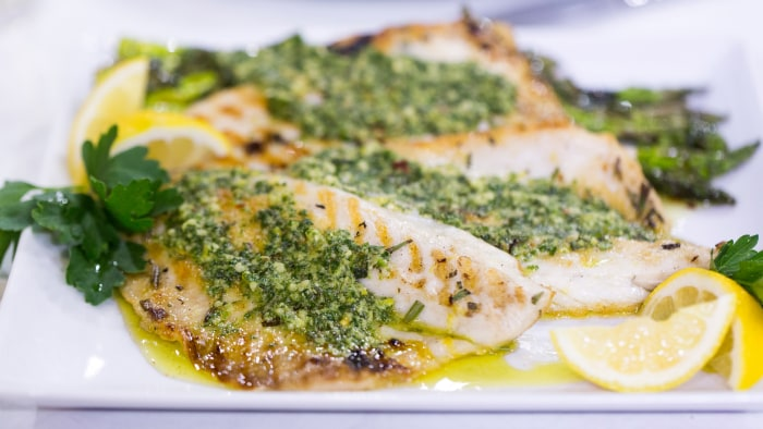 ... recipe for grilled branzino fish with anchovy and rosemary pesto