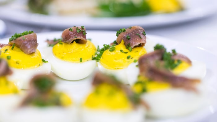 Seamus Mullen's superfood recipe for deviled eggs with anchovies and rosemary