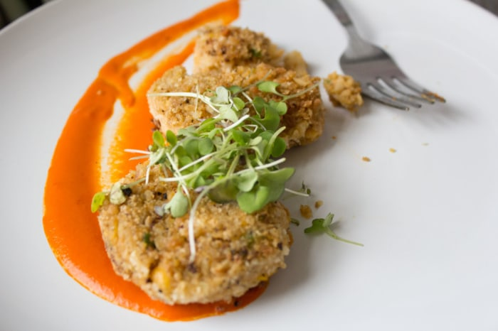 Vegan crab cakes made using hearts of palm