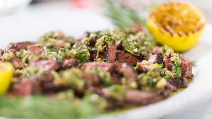 Scott Conant's recipe for skirt steak with salmoriglio sauce