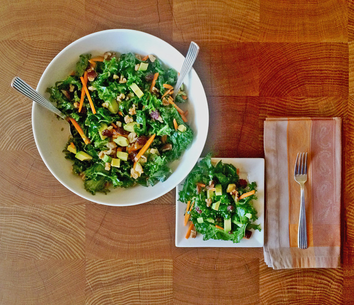 Healthy salad with kale and avocado