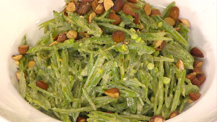 Snap Pea Salad with Vegan Caesar Dressing