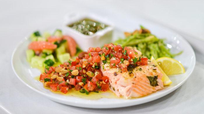 Ryan Scott's recipe for roasted salmon with tomato almond relish