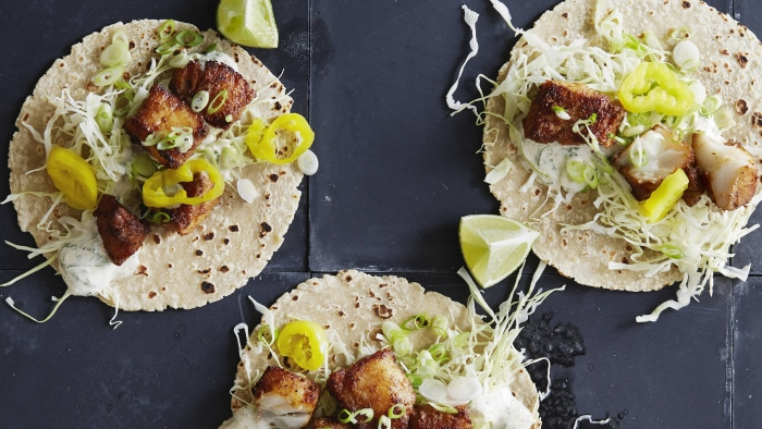 30-Minute Fish Tacos with Garlic, Mint and Cumin Mayo