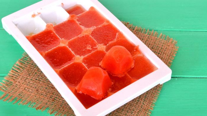 Tomato sauce ice cubes