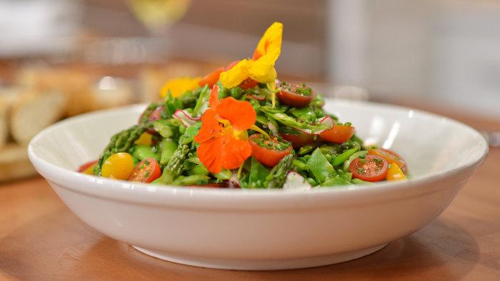 Spring Vegetable Salad with Honey-Lemon Vinaigrette.