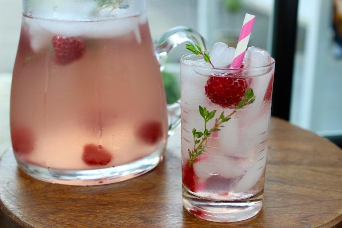 Raspberry thyme rose sangria
