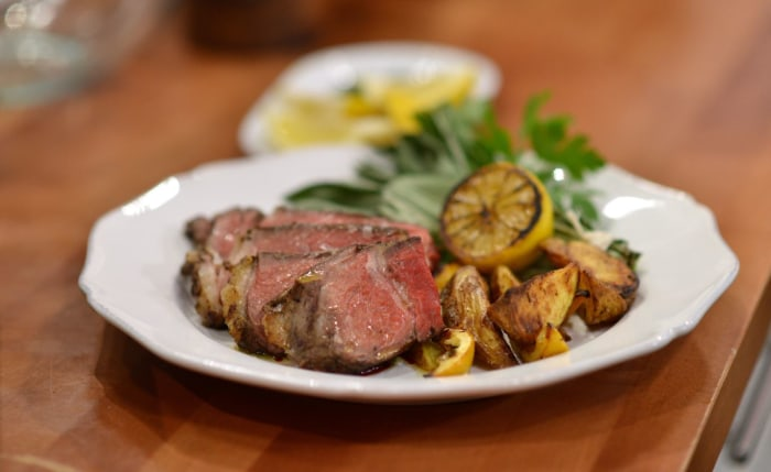 Delicious steak Florentine and roasted potatoes